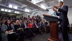 President Obama in the White House press room recently.