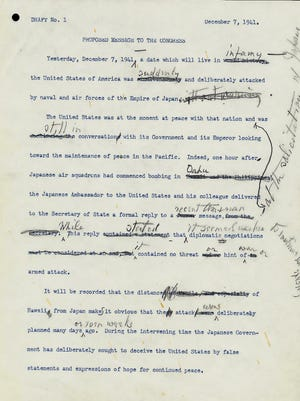 """This is page one of Franklin D. Roosevelt's """"Draft No. 1"""" of his """"Proposed Message To The Congress,"""" dated Dec. 7, 1941, regarding the Japanese attack on Pearl Harbor."""