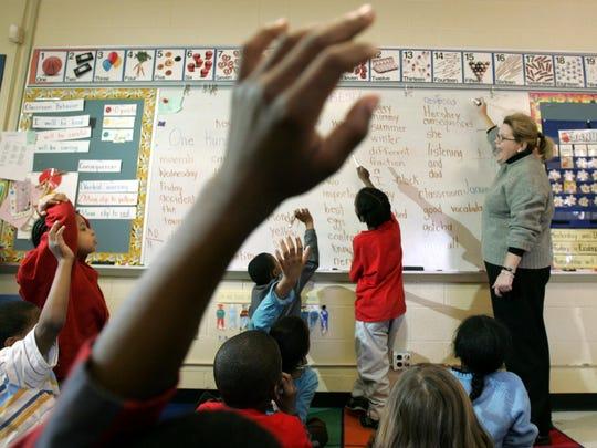 Students raising hands.