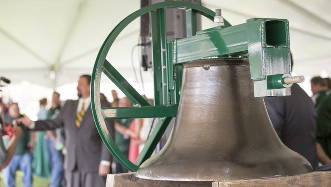 The Old Main Bell, which went missing from the Colorado State University campus in 1919, was unveiled during a Tuesday, April 18, 2017, ceremony held at the CSU campus.