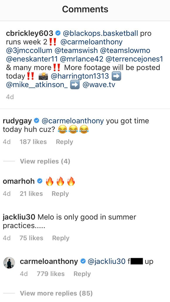 Carmelo Anthony responds to fans hating on him in Instagram comments