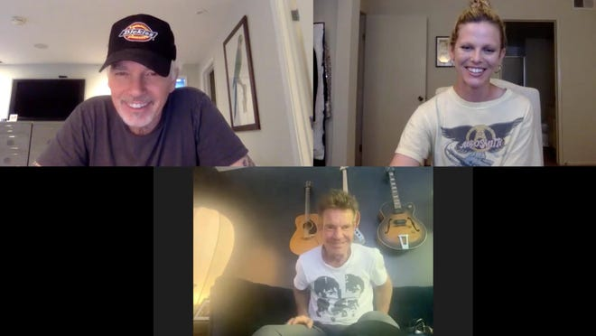Billy Bob Thornton (top left), Scarlett Burke (top right) and Dennis Quaid (bottom) participate in a remote recording session for the podcast.