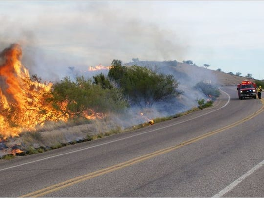 The Oak Tree Fire burns in southern Arizona on May 20, 2015.
