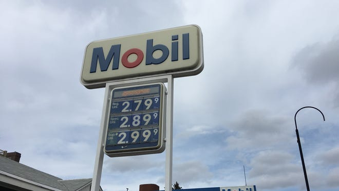 Stations in downtown Burlington had higher than average gas prices on April 13, 2018.
