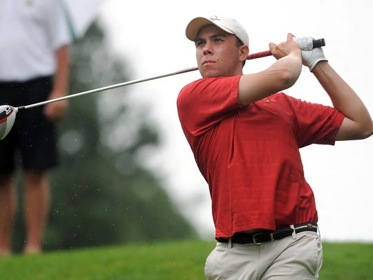 Trevor Sluman watches his tee shot on the 16th hole during the RDGA Men's District Championships in 2014.