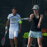 Mats Wilander, left, gives instruction at a recent clinic in Houston as part of WOW, the Wilander on Wheels program.