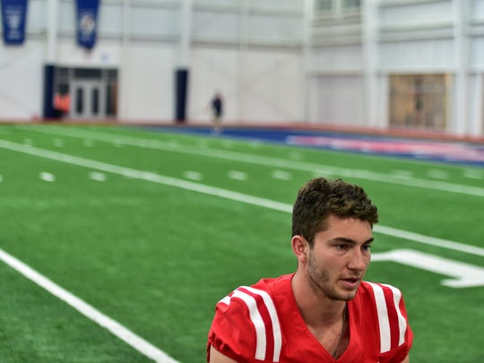 Ole Miss quarterback Shea Patterson is interviewed
