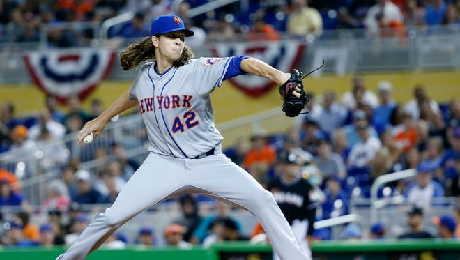 Mets starting pitcher Jacob deGrom allowed only two runs through seven innings Saturday night, but the bullpen gave up the game with three runs in the eighth as the Mets lost to the Marlins, 5-4.