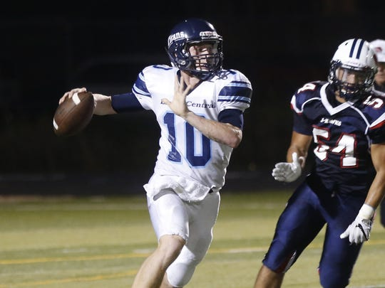 Lewis Central's Max Duggan, left, has developed into one of the nation's top quarterback prospects for the 2019 class.