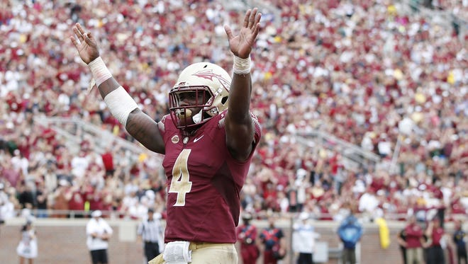 Getty Images Florida State tailback Dalvin Cook is on pace to break the Seminoles? single-season rushing record by Oct. 31 against Syracuse. Getty  Images TALLAHASSEE, FL - SEPTEMBER 12: Dalvin Cook #4 of the Florida State Seminoles celebrates against the South Florida Bulls during a game at Doak Campbell Stadium on September 12, 2015 in Tallahassee, Florida. Florida State defeated South Florida 34-14. (Photo by Joe Robbins/Getty Images)