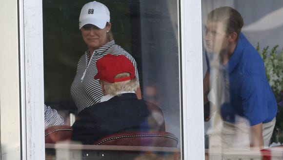 Golfer, Cristie Kerr talks with President Donald Trump