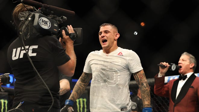 Dustin Poirier is announced as the winner against Eddie Alvarez Saturday night at UFC on FOX 30.