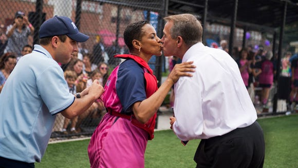Back in 2013, then-House Speaker John Boehner, R-Ohio, greets then-Rep. Donna Edwards, D-Md., during the Congressional Women's Softball game that pits congresswomen against female journalists at Watkins Recreation Center on Capitol Hill.