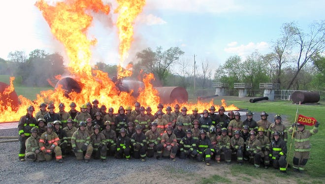 Eight firefighters from Elmira and Corning are among 57 recruits who completed training at the state fire academy in Montour Falls.