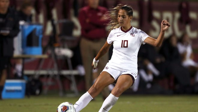 FSU's Deyna Castellanos kicks the ball against Ole Miss during their NCAA Tournament game at the Seminole Soccer Complex on Friday.