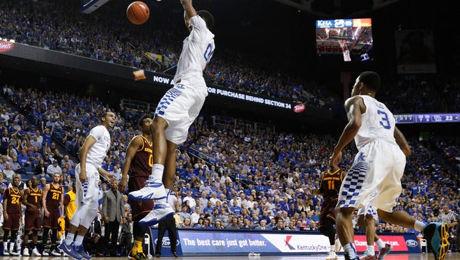 Dec 12, 2015; Lexington, KY, USA; Kentucky Wildcats forward Marcus Lee (0) dunks the ball against the Arizona State Sun Devils in the second half at Rupp Arena. Kentucky defeated Arizona State 72-58. Mandatory Credit: Mark Zerof-USA TODAY Sports