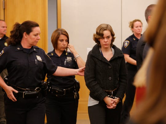 Lacey Spears, accompanied by her attorneys, presented herself at the Westchester County Courthouse and was charged in the 2nd degree murder of her son of Garnett Spears, 5, on June 17, 2014.