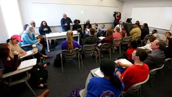 """Dozens of students packed a room in Strong Hall at Missouri State University for a """"Tough Talk Table Talk"""" about the recent events at Mizzou and Yale on Wednesday, Nov. 11, 2015. The talks are designed to give students and staff an opportunity to have difficult conversations about race, bias, inclusion and social class."""