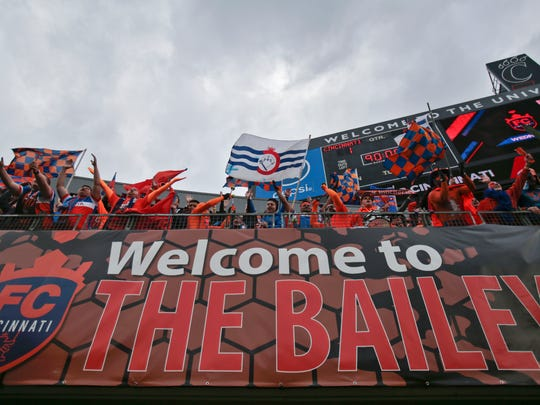 Fans in The Bailey section celebrate the 1-0 win against the Pittsburgh Riverhounds and FC Cincinnati, Saturday, May 14, 2016, at Nippert Stadium in Cincinnati.