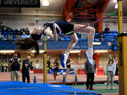 Rutherford's Jenna Rogers competes in high jump during the Bergen County Indoor Track Championship at the Armory Track Center in New York City, NY on Wednesday, February 14, 2018.