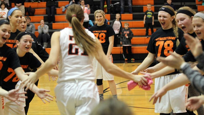 Solon's Hannah Bluder is introduced prior to the Spartans' game against Maquoketa on Tuesday, Jan. 12, 2016.