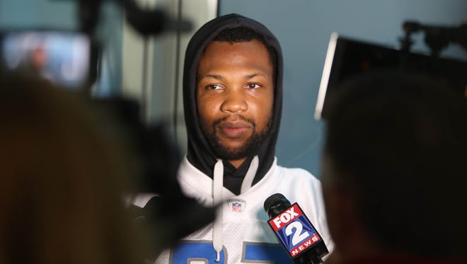 Lions safety Glover Quin talks with reporters after minicamp Thursday, June 15, 2017 at the practice facility in Allen Park.