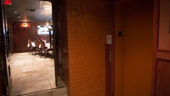 The downstairs dining room and elevator at St. Elmo Steak House which was used by Peyton Manning, who was a frequent customer at the downtown institution, Indianapolis, Thursday, Sept. 28, 2017.