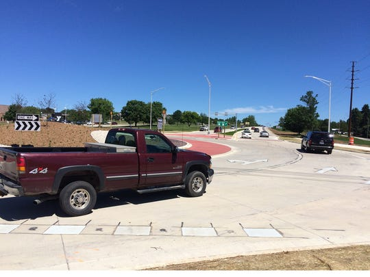 The new roundabout at Wisconsin 42-57 and Michigan Street in Sturgeon Bay was getting a workout already by late Friday morning.