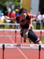 Crestview's Cameron Shifflet competes in the 300 meter hurdles at last year's state meet.