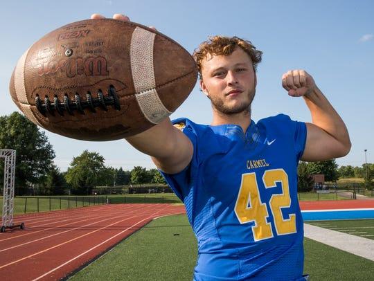 Joey Schmidt, outside linebacker for Carmel High School,