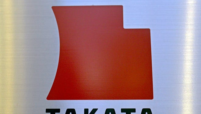 Logo of Japanese auto-parts supplier Takata Corp. at the company Tokyo headquarters in Tokyo, Japan.