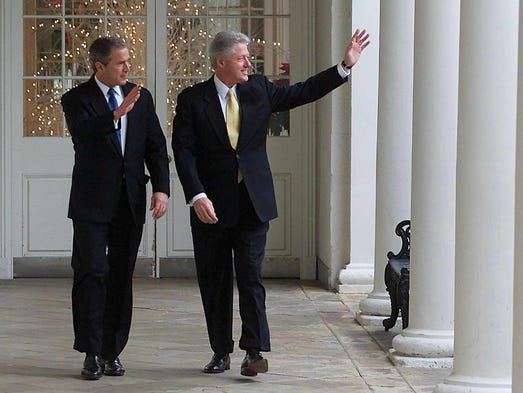 39 war horses 39 bush clinton lay ground for 2016 race - Bill clinton years in office ...