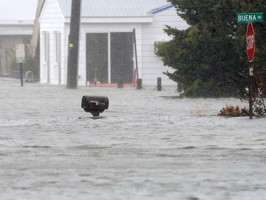 In this 2012 file photo, water is up to the mailboxes on Read Street in Dewey Beach as flooding from the bay comes in as a result of Hurricane Sandy's rains and winds. April 6-10 has been recognized as Flood Safety Awareness Week by the National Weather Service for Philadelphia and Mount Holly.
