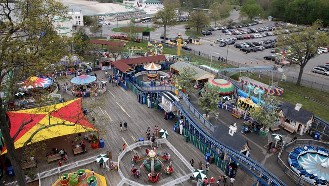 A view of Playland from the Ferris Wheel on opening day, May 10, 2014 in Rye.