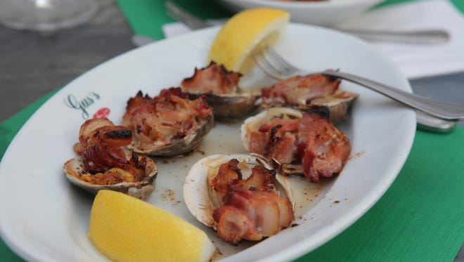 Clams casino are photographed in the outdoor patio at Gusâ??s Franklin Park Restaurant in Harrison on July 21, 2011.