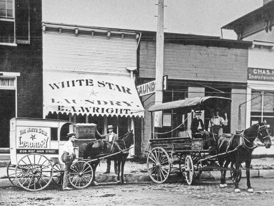 The White Star Laundry was located in the 200 block of West Main Street in Lancaster, circa 1900.