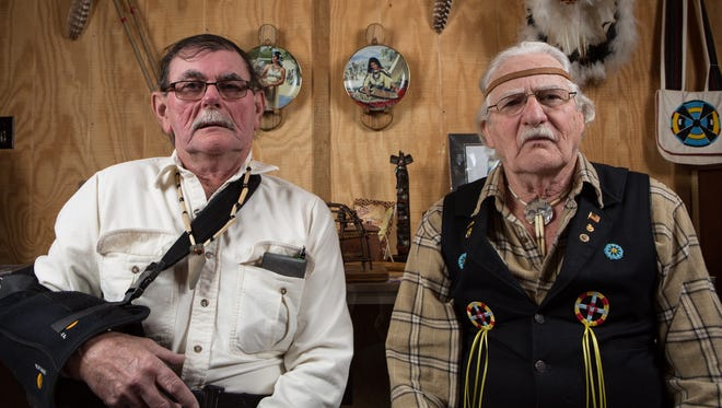 """Accohannock Chief Clarence """"Lone Wolf"""" Tyler, left, and tribe historian Mike """"Fierce Arrow"""" Hinman pose for a photo at Bending Water Park in Marion Station on Friday, Feb. 17, 2017."""