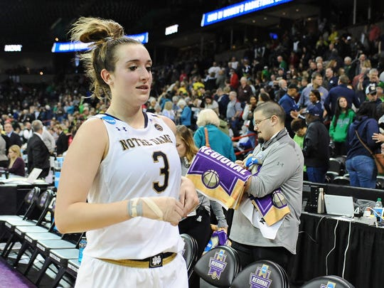 Notre Dame Fighting Irish guard Marina Mabrey (3) leads