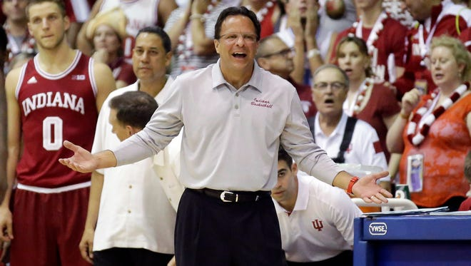 Indiana head coach Tom Crean reacts in the second half during an NCAA college basketball game against UNLV in the Maui Invitational, Wednesday, Nov. 25, 2015, in Lahaina, Hawaii. UNLV won 72-69. (AP Photo/Rick Bowmer)