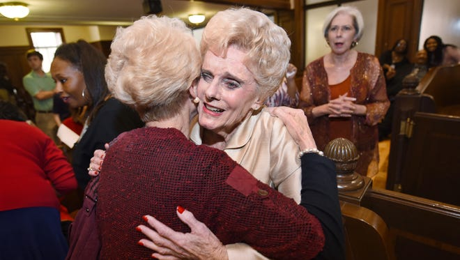 Hinds County Circuit Clerk Barbara Dunn, center, receives congratulations from friends and family during her retirement celebration on Friday at the Hinds County Courthouse in Jackson.