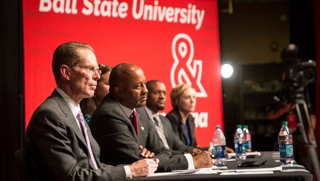 Members of the public joined Ball State President Geoffery Mearns Sept. 13 as he and other panelists from the Muncie Community talked about issues in education and community in an open public forum. The Better Together forum is one of three scheduled across Muncie in the coming weeks.
