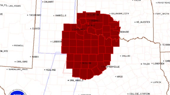 The National Weather Service's Tornado Watch forecast for March 28, 2017
