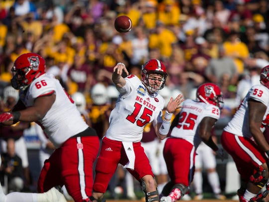 North Carolina State quarterback Ryan Finley drops