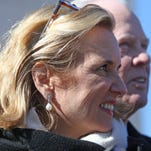 Kerry Kennedy looks on as her attorneys talk to the press after being acquitted in her drugged-driving trial, Feb. 28, 2014 at Westchester County Courthouse in White Plains.
