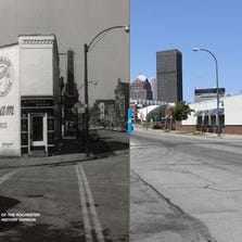 At left, Monroe Avenue at Marshall Street, 1956. At right, a current view of the site.