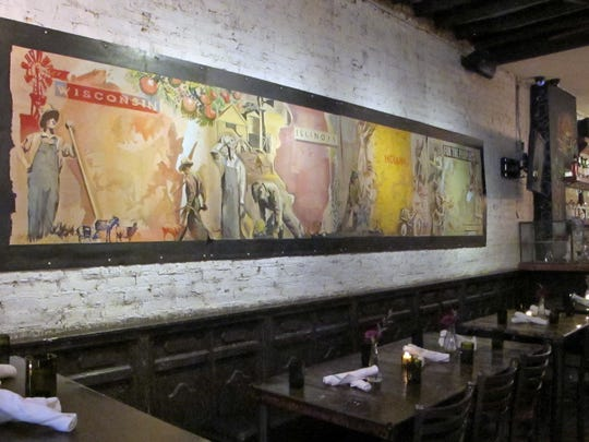 The decor at Farmhouse Chicago restaurant demonstrates an acknowledgment and respect for the work of Midwest farmers.