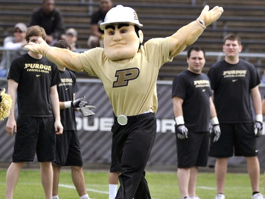 The new-look Purdue Pete reacts to the crowd booing