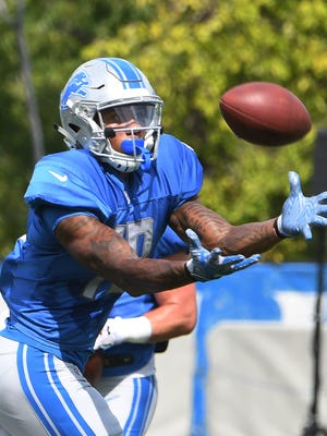 Lions rookie wide receiver Kenny Golladay was sidelined in practice Thursday.