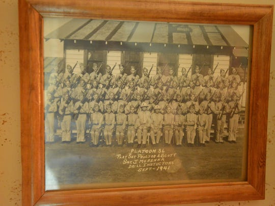 Robert Goodson's World War II memorabilia includes a photo of Platoon 86, his boot camp class at Parris Island, S.C., in September 1941.