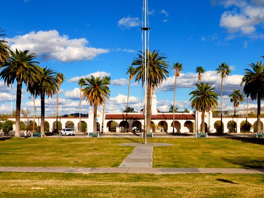 The century-old Ajo town plaza surrounds a park of